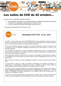 Les suites du CCE du 22 octobre...