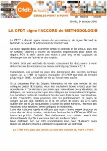 LA CFDT signe l'ACCORD de METHODOLOGIE