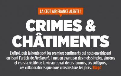 La CFDT AirFrance alerte; Crimes & châtiments