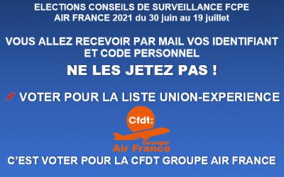 ELECTIONS CONSEILS DE SURVEILLANCE FCPE  AIR FRANCE 2021 du 30 juin au 19 juillet 2021